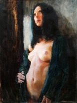 Oil painting of a nude girl with her black gown open.